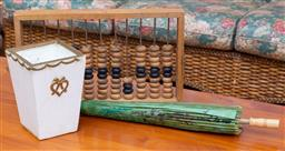 Sale 9190H - Lot 435 - A wooden Abacus, Green decorated paper Japanese umbrella & a White Vase with gold Motif