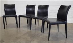Sale 9218 - Lot 1079 - Set of 4 leather clad dining chairs ex space furniture (h86 x w48 x d53cm)