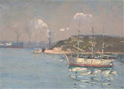 Sale 9244 - Lot 594 - ROBERT WADEN (1900 - 1946) Sailing Boats in Harbour with Distant View of Ships oil on canvas on board 24.5 x 34.5 cm (frame: 31 x 41...
