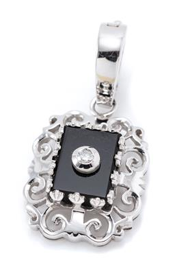 Sale 9253J - Lot 484 - A WHITE GOLD ONYX AND DIAMOND ENHANCER PENDANT; set with a round brilliant cut diamond applied to a rectangular onyx plaque to piece...