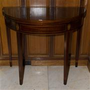 Sale 7981B - Lot 5 - A Georgian revival inlaid and cross banded half round tea table. The folding top opening onto double gate legs. C. . H:760 x W:880 x...