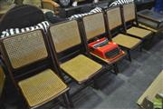 Sale 8338 - Lot 1322 - Set of Five Timber Fold Out Chairs with Rattan Back & Seat