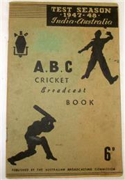 Sale 8460C - Lot 32 - ABC Cricket Broadcast Book Test Season 1947–48 India Australia. 64 pages possibly signed by Sam Loxton (Vic) F. Freer Vic. Pages fil...