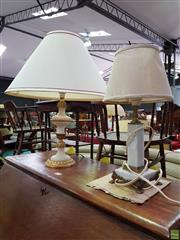 Sale 8570 - Lot 1074 - Matched Marble Table Lamps