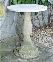 Sale 8568A - Lot 196 - A composite base garden table with white marble top, H 65 x D 50cm