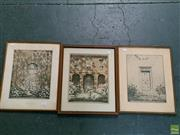 Sale 8582 - Lot 2074 - Hardy Wilson (3 works), prints, frame size 47 x 37cm