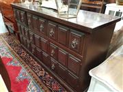 Sale 8697 - Lot 1084 - Dark Stain Timber Sideboard with Three Drawers Above Three Doors