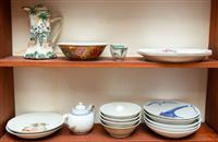 Sale 8735 - Lot 49 - Two shelf lots of Oriental pottery and porcelain, H x 23cm