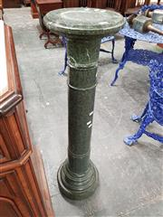 Sale 8792 - Lot 1036 - Early 20th Century Dark Green Marble Pedestal, the turned shaft with shallow reeding - some chips (H: 104cm)