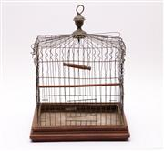 Sale 9027 - Lot 21 - Small Antique Wire Birdcage Timber Base Marked Underneath Patented 1872 (H: 40cm W:30cm D:23cm)
