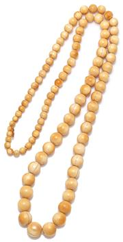 Sale 9083 - Lot 514 - A VINTAGE GRADUATRED IVORY BEAD NECKLACE; 5.5 - 12.8mm round beads, length 78cm.