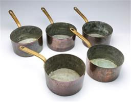 Sale 9093 - Lot 82 - Set of Copper Saucepans Stamped CPRR Attributed Central Pacific Rail Road