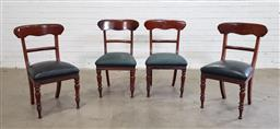 Sale 9151 - Lot 1170 - Set of 4 cedar dining chairs with leather upholstered seats (h:87 x w:51 x d:39cm)