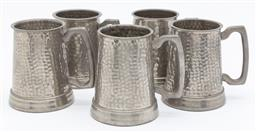 Sale 9099 - Lot 184 - Five pewter tankards with hammered finish, Height 10cm