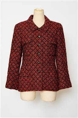 Sale 9095F - Lot 61 - A vintage Chanel Boutique three quarter length jacket in light red and black diamond motif, size 42.