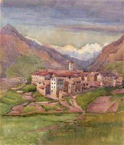 Sale 9216A - Lot 5075 - GLADYS OWEN (1889 - 1960) Italian Alpine Village, 1911 watercolour 40 x 34 cm (frame: 63 x 53 x 3 cm) signed and dated lower right