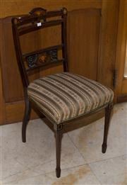 Sale 7981B - Lot 3 - An Edwardian occasional chair. The top rail and splat inlaid with comports of fruit. Upholstered in Regency stripe. C. Late 1800's....