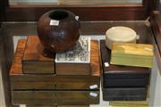 Sale 7982 - Lot 94 - Poker Work Vase and Various Boxes incl Timber, Bakelite and Xylonite