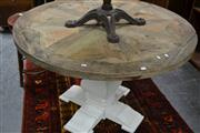 Sale 8039 - Lot 1021 - Round Rustic Dining Table w White Legs