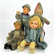 Sale 8330T - Lot 87 - Two Lupo Laine dolls and other Cloth Dolls;  Specially Made by Deans Rag Book Co. Ltd, London on Lupino Lane in The Lambeth Walk 8...