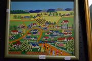 Sale 8346 - Lot 2030 - A Naive Style Painting of a Country Town by an Unknown Artist, acrylic on canvas on board, 24.5 x 29cm, unsigned.
