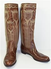 Sale 8460F - Lot 63 - A pair of brown leather Sergio Rossi cowboy style knee high boots with tulip stitched design, size womens 38.5 , some wear