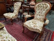 Sale 8728 - Lot 1063 - Victorial Carved Walnut and Beech Gents & Ladys Chairs, with buttoned cut-moquette velvet upholstery, on cabriole legs
