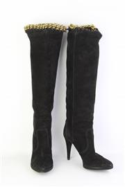 Sale 8782A - Lot 195 - A pair of Sergio Rossi black suede knee high boots with stiletto heel and interlocking gold tone chain and trim, Made in Italy, size...