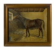 Sale 8888H - Lot 20 - Antique English School c. 1900 Portrait of a Horse - Micky oil on canvas 30 x 36cm signed lower right