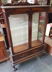 Sale 8942 - Lot 1030 - Mahogany Glass Front Display Cabinet with Two Drawers Below on Cabriole Legs (H: 159, W: 103, D: 39cm)