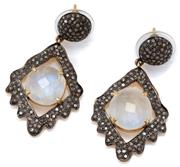 Sale 9054 - Lot 360 - A PAIR OF MOONSTONE AND DIAMOND DROP EARRINGS; each a 10mm round dome set with single cut diamonds suspending a lozenge shape frame...