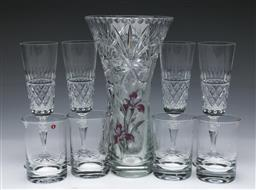 Sale 9098 - Lot 155 - Bohemian glass vases (H25.5cm &19cm) together with a set of four Galway crystal glasses and a set of four Iittala tumblers