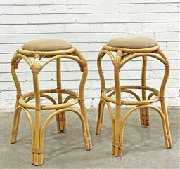 Sale 9112 - Lot 1026 - Pair of tall vintage cane stools (h:79cm)