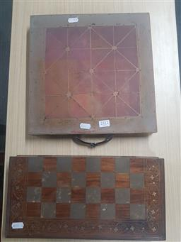 Sale 9152 - Lot 2312 - Chess Board & Game Board, with Brass Tiger & Goat Pieces (2)