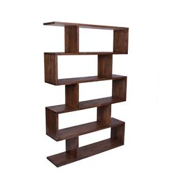 Sale 9250T - Lot 94 - A tall dark brown open form bookcase made from fruitwood. Height 186cm x Width 127cm x Depth 37cm