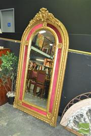Sale 8299 - Lot 1007 - Tall Gilt Framed Dome Top Mirror