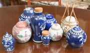 Sale 8515A - Lot 99 - A group of ginger jars including blue and white and famille rose, tallest H 20cm