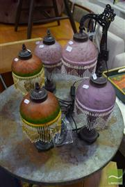 Sale 8532 - Lot 1317 - Collection of Five Glass Shade Table Lamps