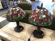 Sale 8801 - Lot 1566 - Pair Of Lead Light Shade Table Lamps