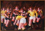 Sale 9013A - Lot 5037 - I. Hunter - Rugby Tackle 90 x 130 cm (frame: 95 x 136 x 4 cm)