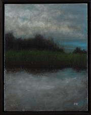Sale 9023H - Lot 101 - JAMES HARAMIS, Reflection oil on canvas initial LR 35.5X 28cm (in a box frame)