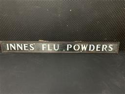 Sale 9092 - Lot 1091 - Framed INNES FLU POWDERS ply cut out sign under glass (h:15 x w:145cm)