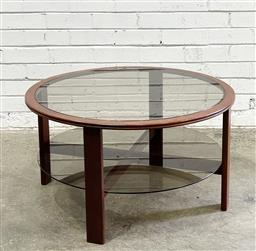 Sale 9117 - Lot 1093 - Mid-Century Round Coffee Table with smoky glass shelves (h.43cm, dia.80cm)