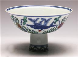 Sale 9144 - Lot 83 - A Chinese porcelain Doucai footed bowl (Dia 16cm)