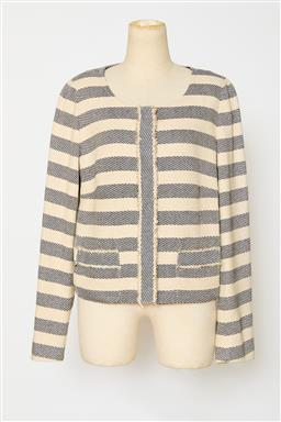 Sale 9095F - Lot 90 - A Max Mara Weekend short jacket in blue & beige horizontal stripes with frayed design, size 12.