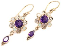 Sale 9253J - Lot 359 - A PAIR OF AMETHYST AND OPAL EARRINGS; 9ct gold wire work frames centring round cut amethyst to cabochon opals suspending pear cut am...