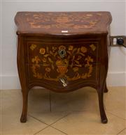 Sale 7984 - Lot 15 - Dutch mahogany & marquetry 2 drawer bombe side cabinet