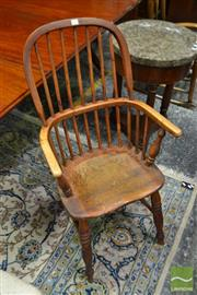 Sale 8500 - Lot 1015 - Victorian Elm & Mixed Wood Windsor Armchair, on turned legs & stretcher base