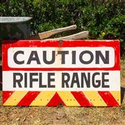 Sale 8878T - Lot 79 - Handpainted Metal Rifle Shooting Range Warning Sign Dimensions - 90cm x 50cm
