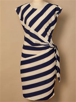 Sale 9093F - Lot 74 - A Louche stripped cream and navy summer dress, size 10